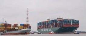 Puerto de Hamburgo, encalla mega buque de CSCL