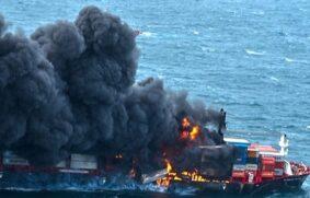 Buque fullcontainer arde en Sri Lanka